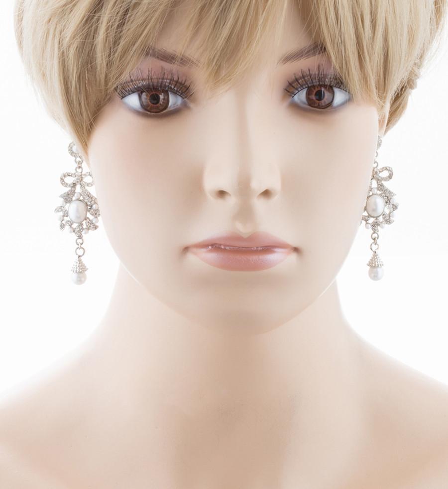 Bridal Wedding Jewelry Crystal Rhinestone Pearl Ribbon Bow Dangle Earrings White