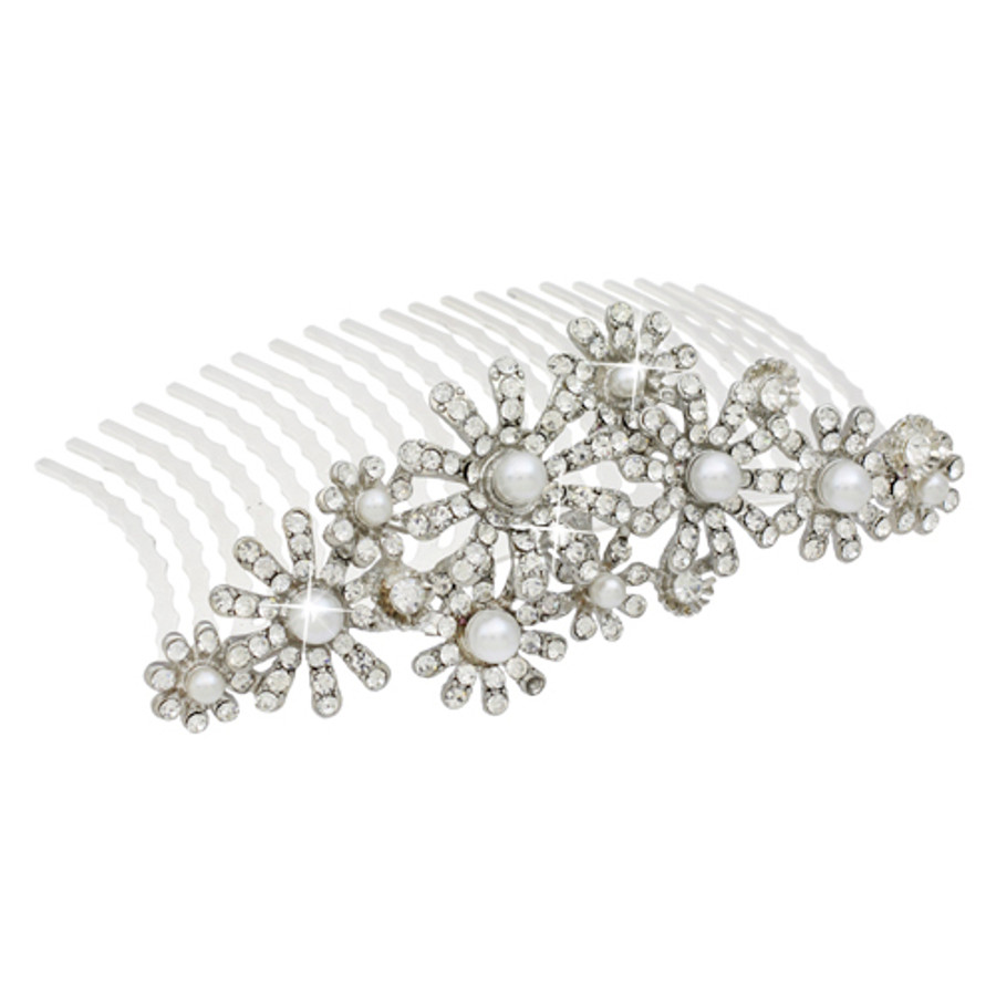 Bridal Wedding Jewelry Crystal Rhinestone Elegant MidSize Floral Hair Tiara Comb