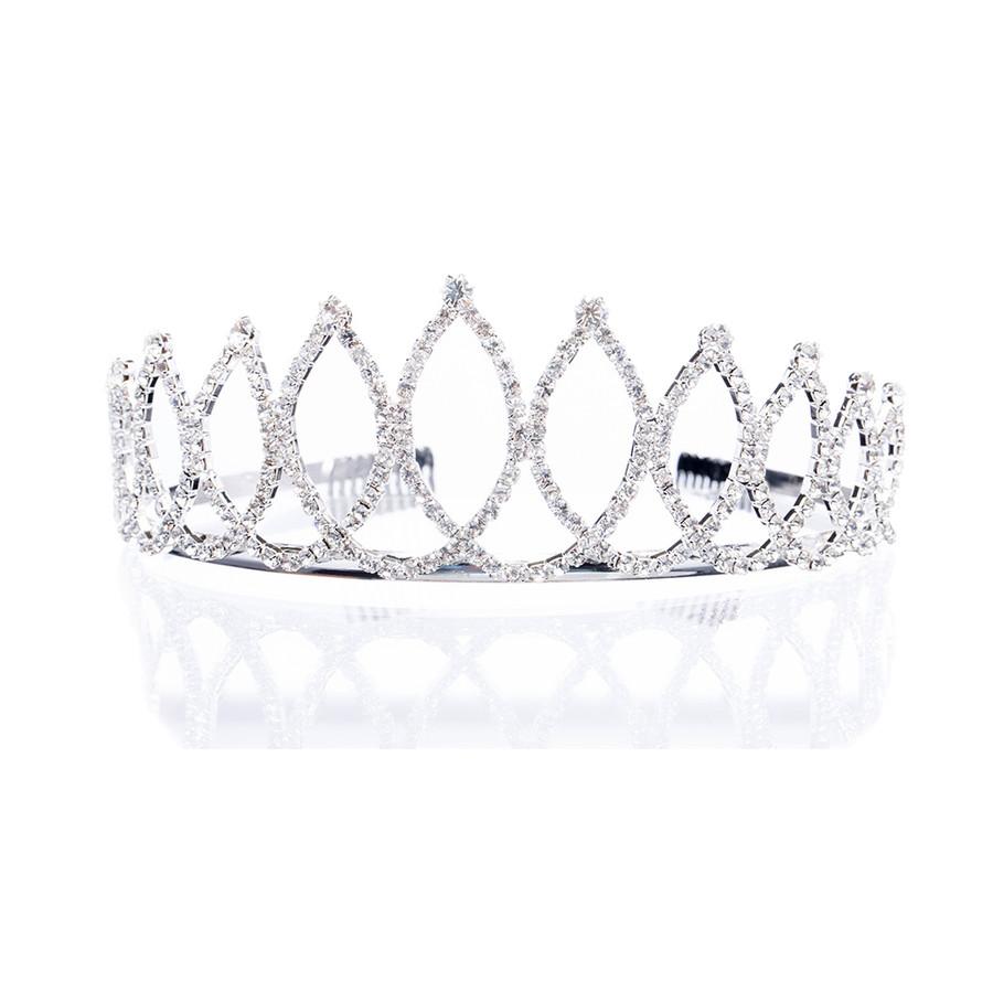 Bridal Wedding Jewelry Crystal Rhinestone Navette Oval Links Hair Headband Tiara