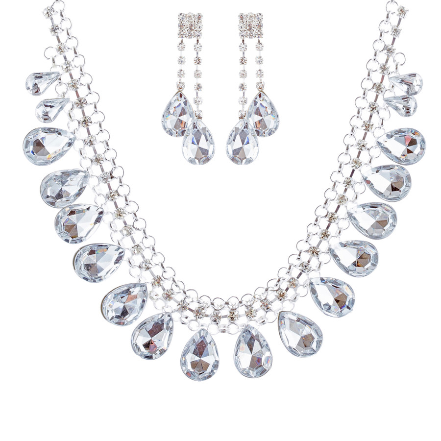 Bridal Wedding Jewelry Set Crystal Rhinestone Teardrop Dangles Necklace Silver