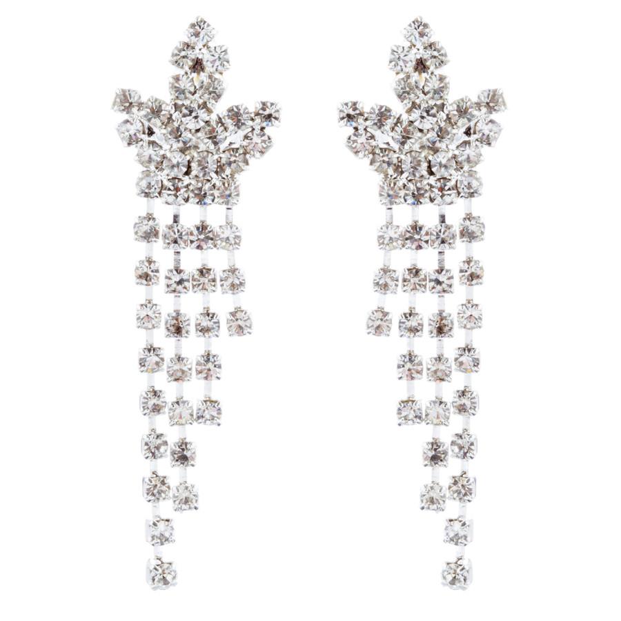 Bridal Wedding Jewelry Set Crystal Rhinestone Trendy Chic Necklace Silver