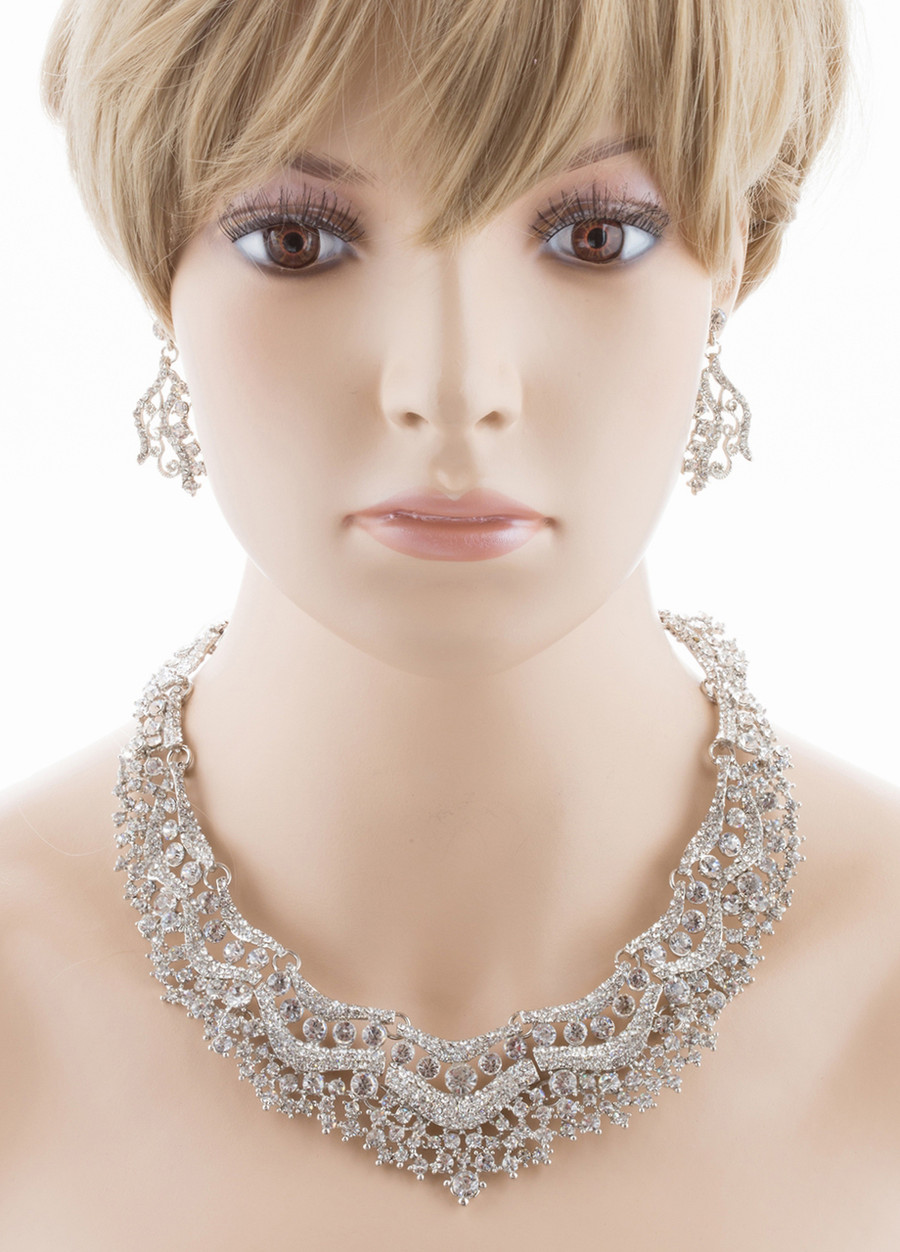 Bridal Wedding Jewelry Set Crystal Rhinestones Stunning Bib Necklace Silver