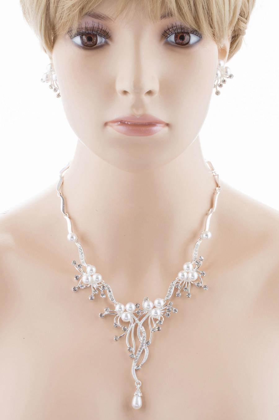 Bridal Wedding Jewelry Set Crystal Rhinestone Pearl Floral Vine Design Necklace