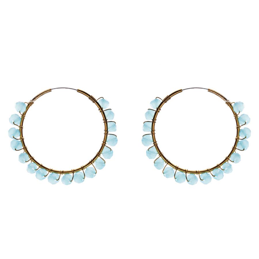 Crystal Wired Handmade Beautiful Fashion Dangle Hoop Earrings Gold Blue