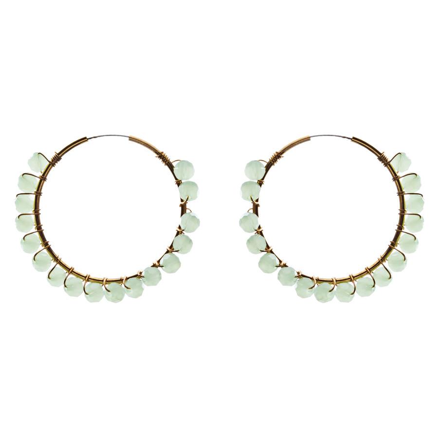 Crystal Wired Handmade Beautiful Fashion Dangle Hoop Earrings Gold Green