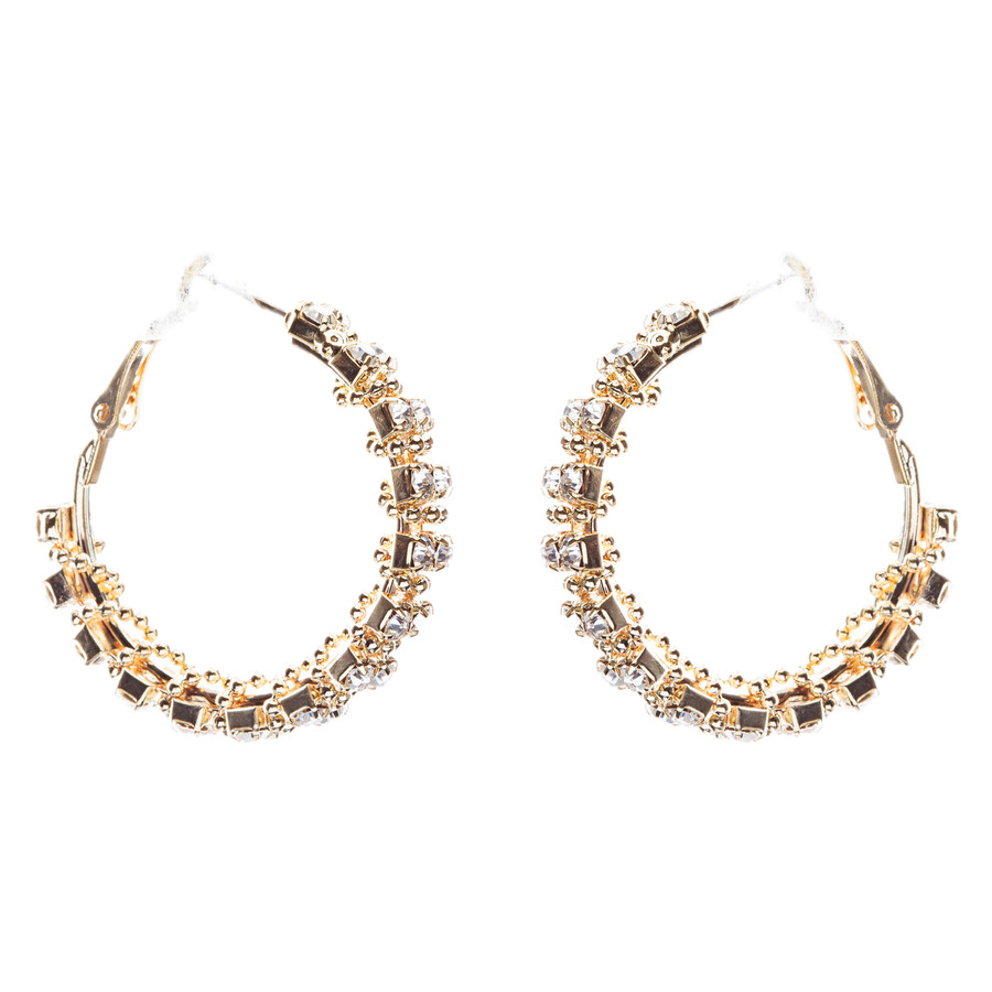 Beautiful Dazzling Beaded Wrap Double Row Crystal Rhinestone Hoop Earring Gold