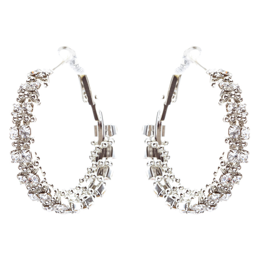 Beautiful Dazzling Beaded Wrap Double Row Crystal Rhinestone Hoop Earring Silver