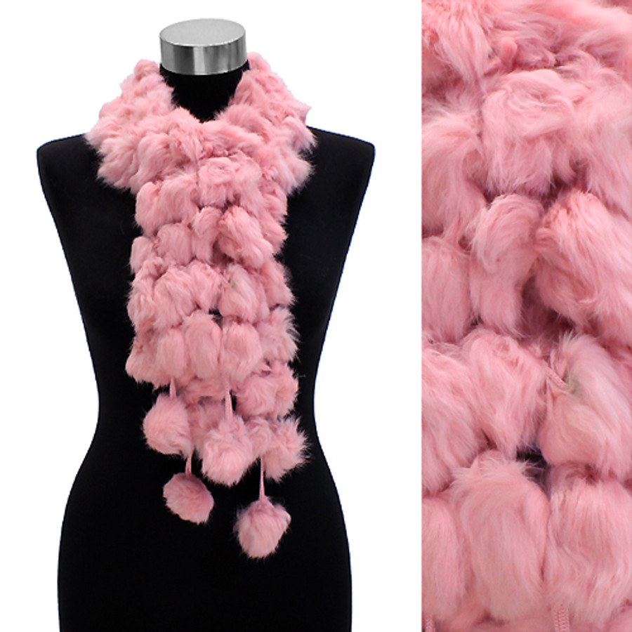 4-Strands Luxurious Rabbit Fur Ball Linked Scarf Pink