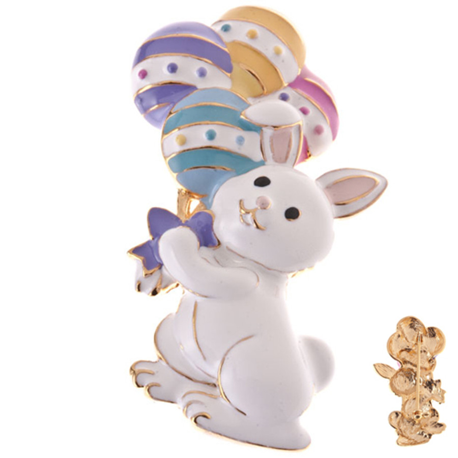 Spring Easter Jewelry Bunny with Easter Egg Balloon Charm Brooch Multi-Colored