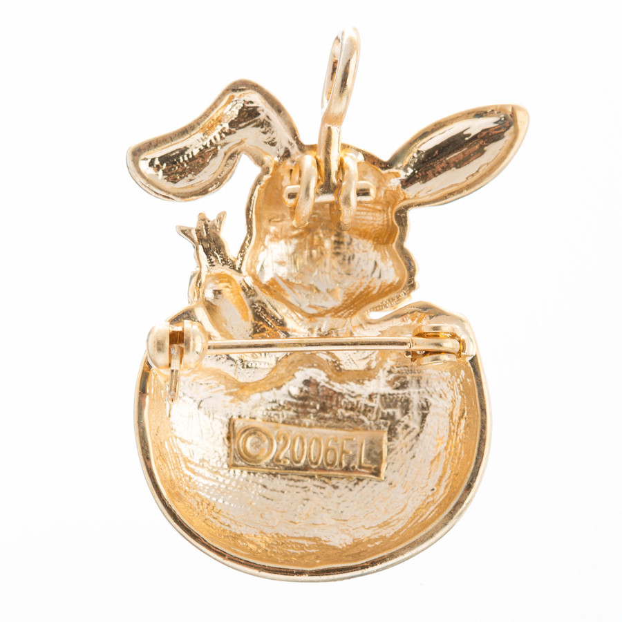 Spring Easter Jewelry Bunny in Easter Egg Carrot Charm Brooch Pin Pendant