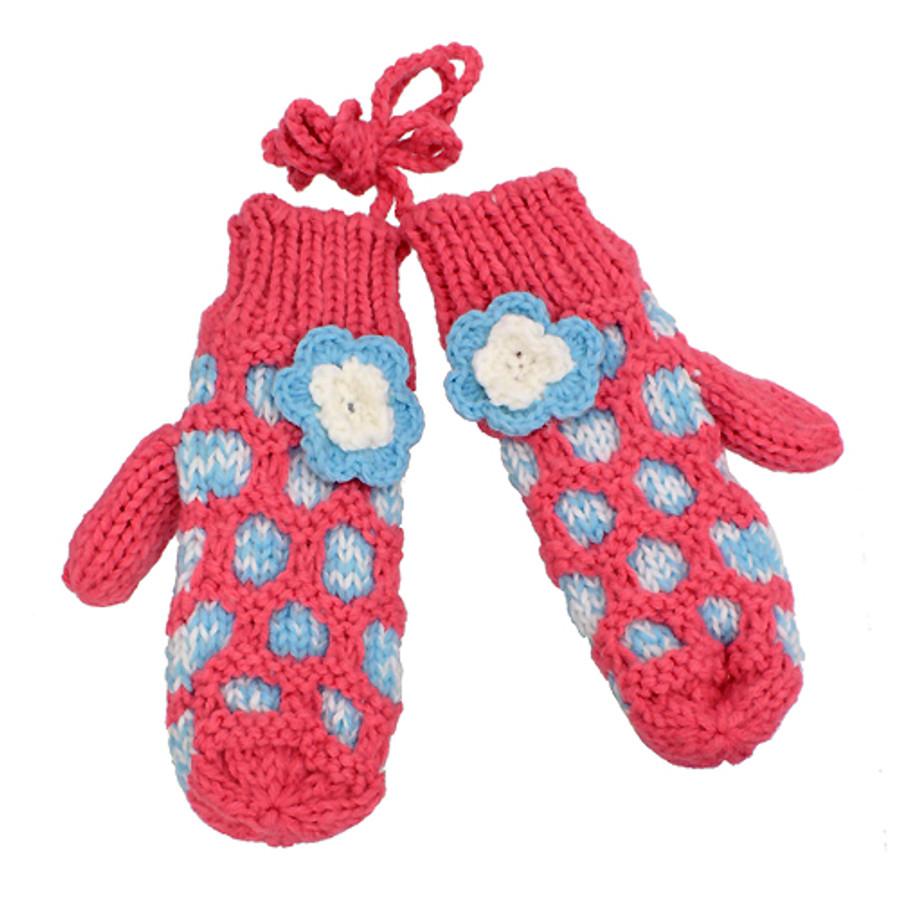 Hand Knitted Mitten with Shoulder Strap Fleece Liner Blue White Flower Pink
