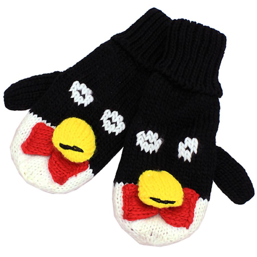 Knitted Fun 3D Animal Soft Mittens Gloves Black Penguin