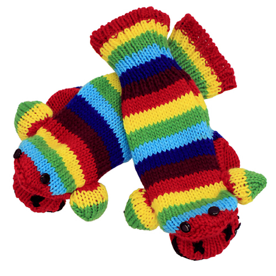 Knitted Fun 3D Animal Soft Mittens Gloves Stripe Monkey