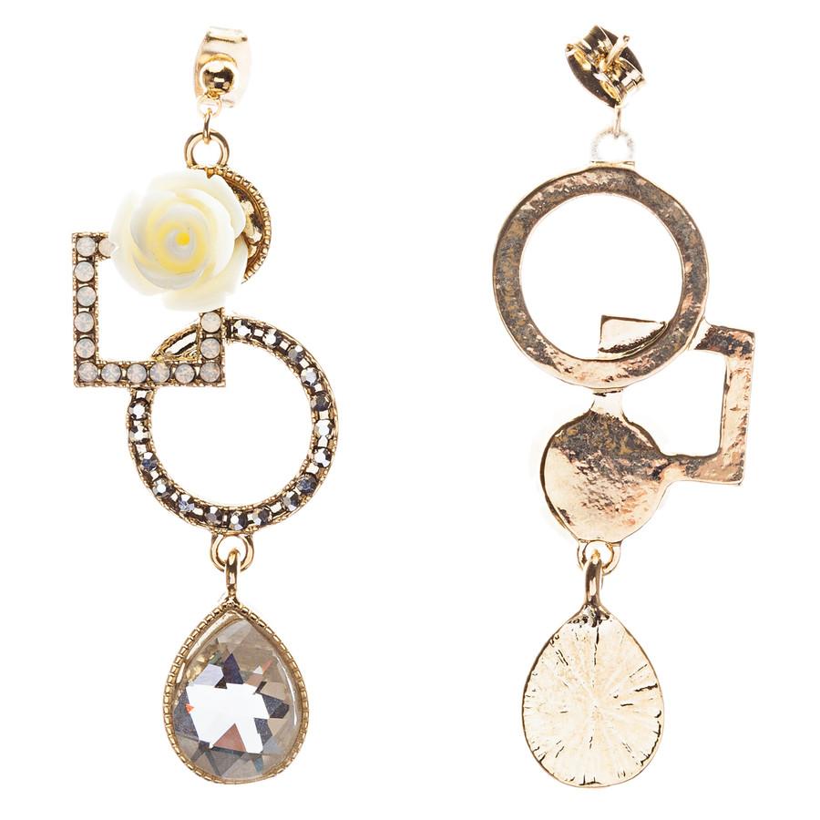 Semiprecious Flower & Crystal Drop Earrings Gold