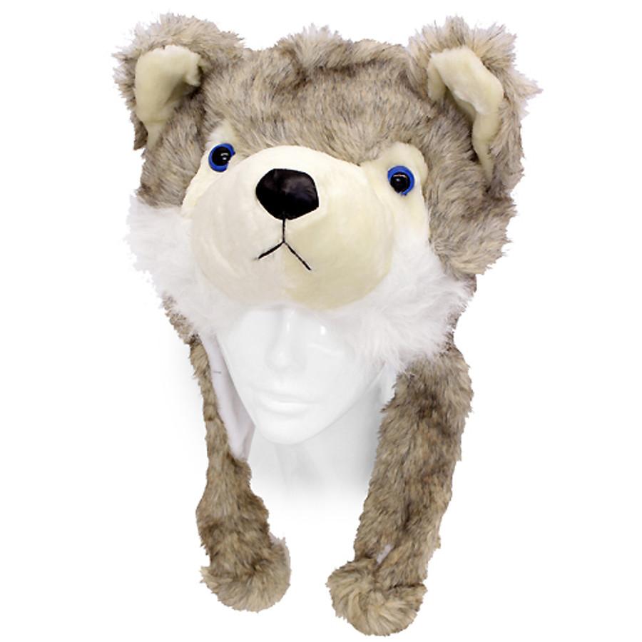 89b88210df4 Plush Soft 3D Animal Trooper Trapper Hat Ear Flaps Fleece Liner Beige Gray  Fox
