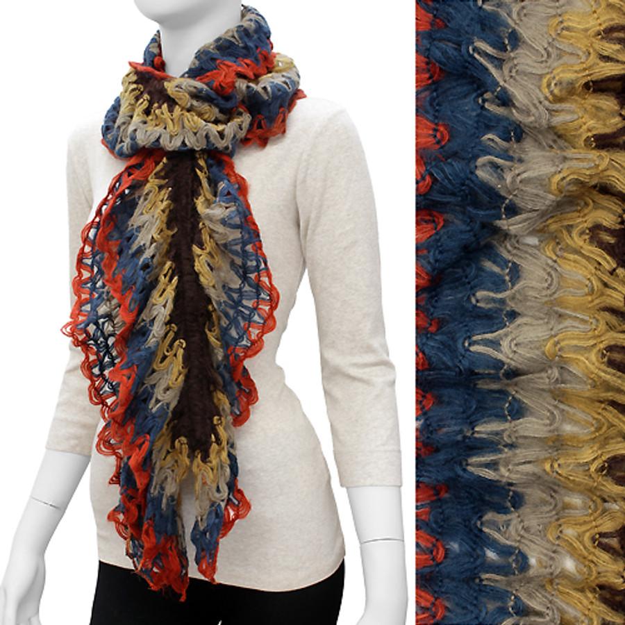 Gorgeous Unique Multi Color Ruffle Knit Fashion Scarf Brown