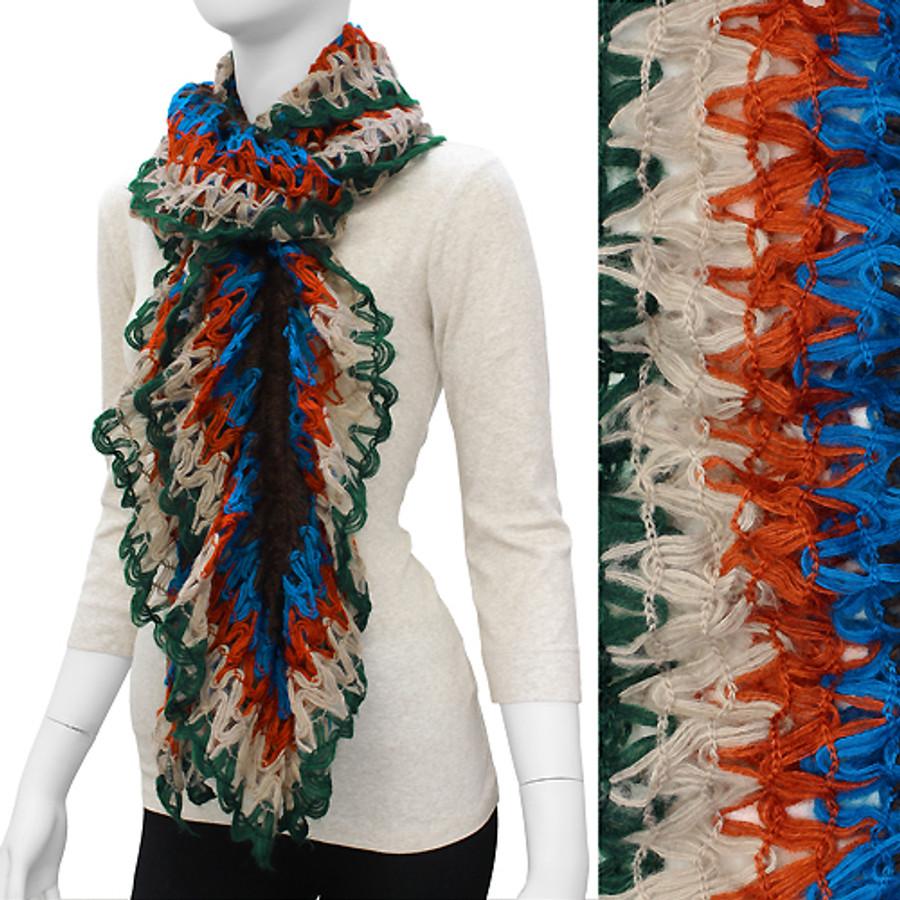 Gorgeous Unique Multi Color Ruffle Knit Fashion Scarf Green