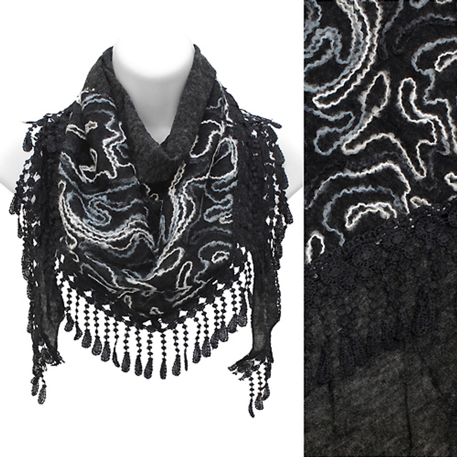 Duo Layer Abstract Design Lace Drop Triangle Fashion Scarf Black