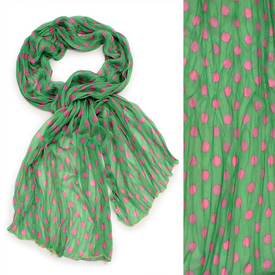 Adorable Sweet Polka Dot Pattern Lightweight Fashion Scarf Green