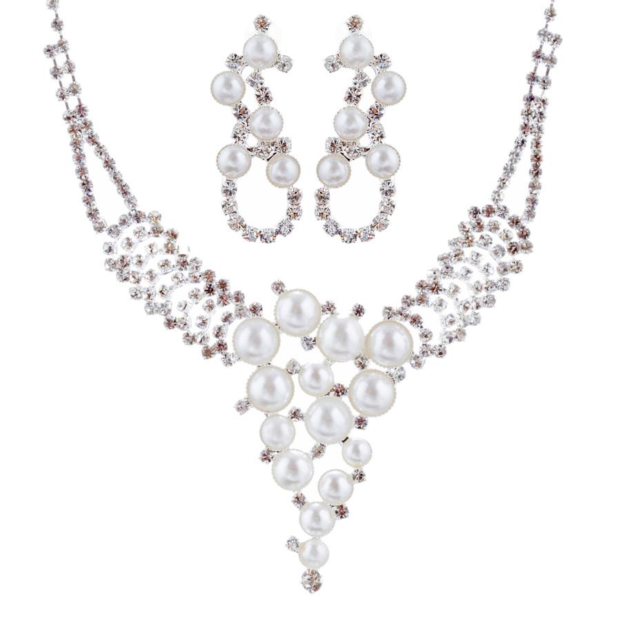 Bridal Wedding Jewelry Set Crystal Rhinestone Pearl Exquisite Design Silver