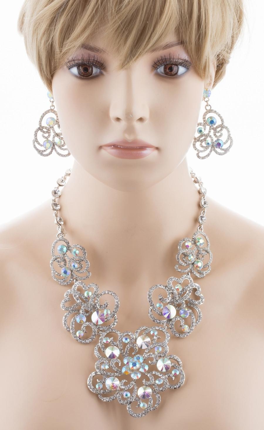 Bridal Wedding Jewelry Set Crystal Rhinestone Chunky Floral Necklace Silver AB