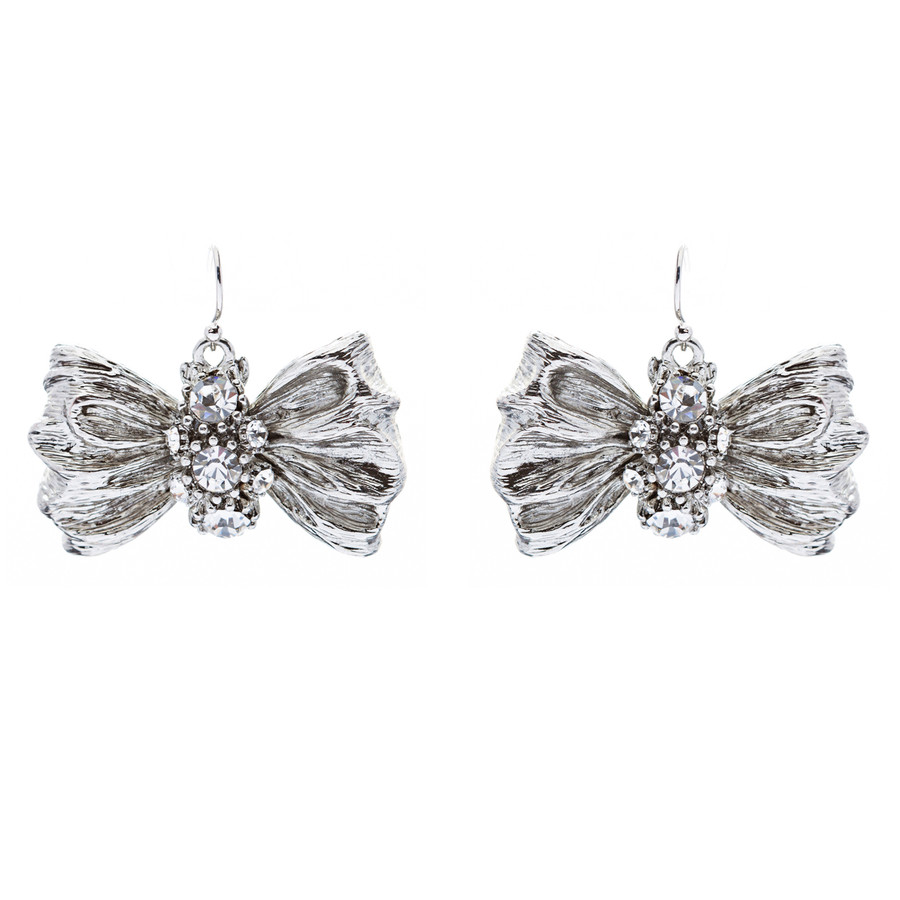 Chic Sparkle Bow Tie Ribbon Design Crystal Fashion Dangle Drop Earrings Silver