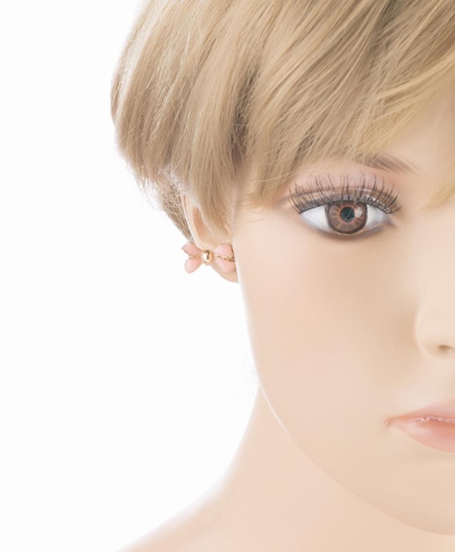Gorgeous Fashion Ribbon Bow Design Enamel Small Stud Earrings Gold Cream Ivory
