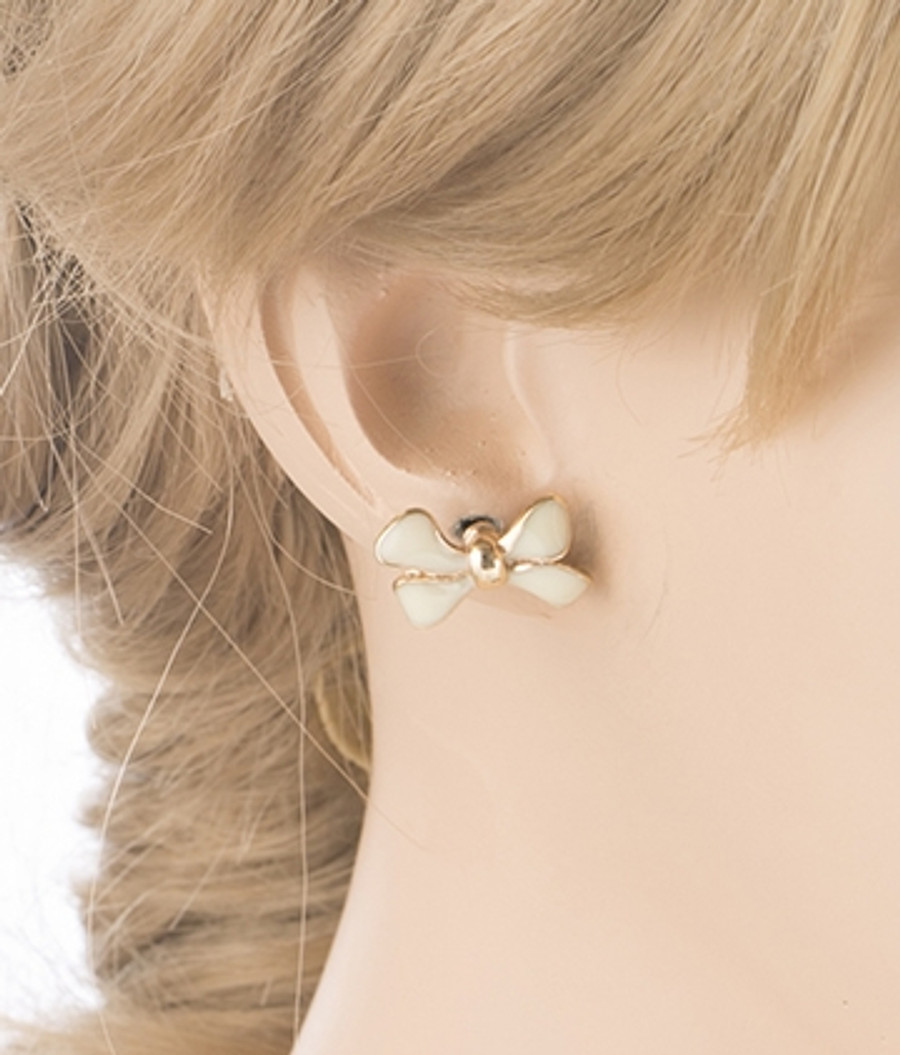 Gorgeous Fashion Ribbon Bow Design Enamel Small Stud Earrings Gold Pink
