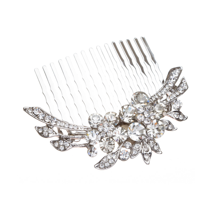 Bridal Wedding Jewelry Crystal Rhinestone Duo Flowers Hair Comb Pin Silver