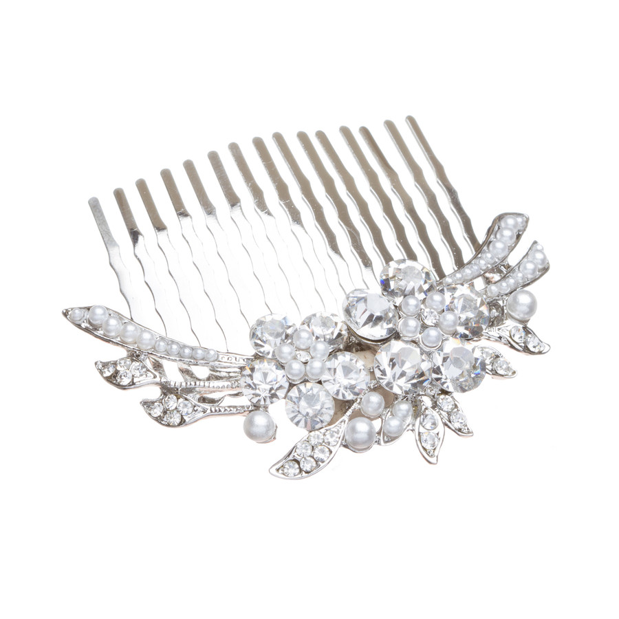 Bridal Wedding Jewelry Crystal Rhinestone Pearl Duo Flowers Hair Comb Pin Silver