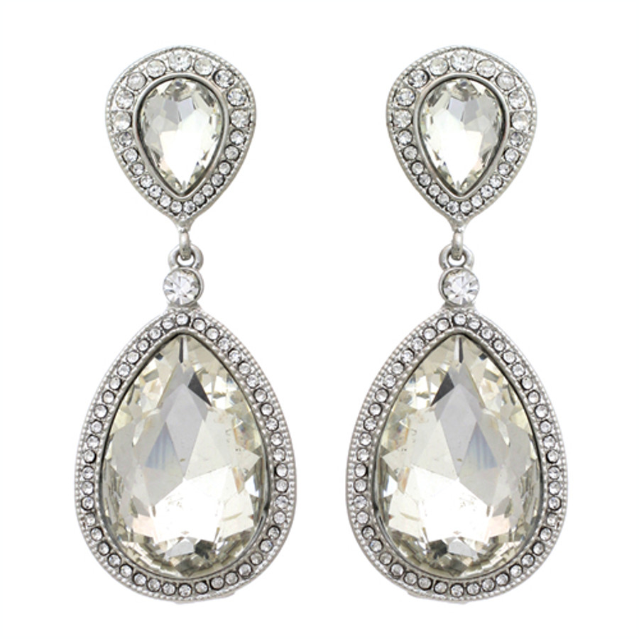 Bridal Wedding Jewelry Sparkle Classic Teardrop Dangle Fashion Earrings Silver