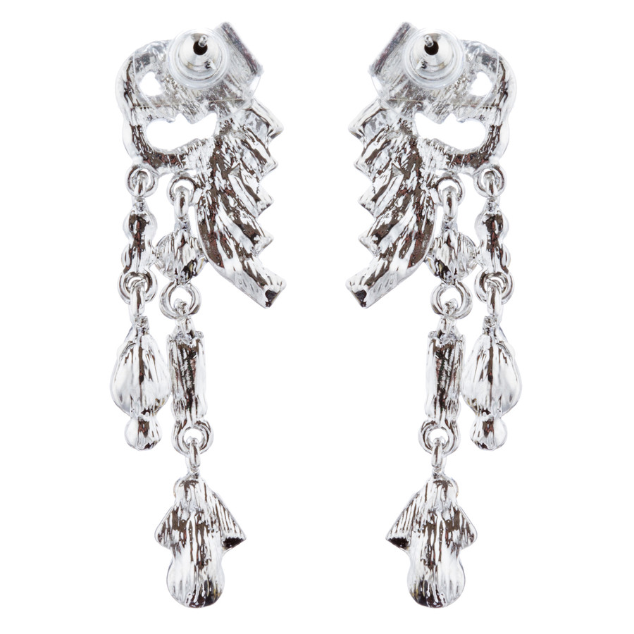 Bridal Wedding Jewelry Unique Crystal Rhinestone Linear Fashion Earrings Silver