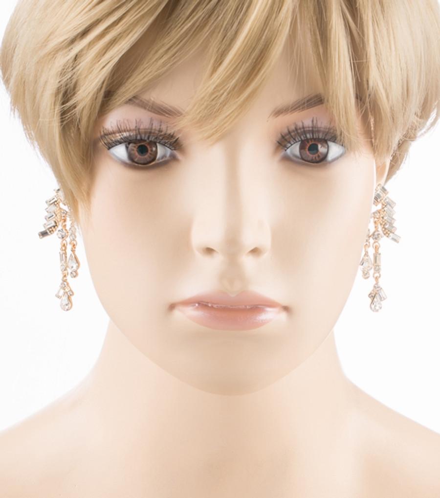 Bridal Wedding Jewelry Unique Crystal Rhinestone Linear Fashion Earrings Gold