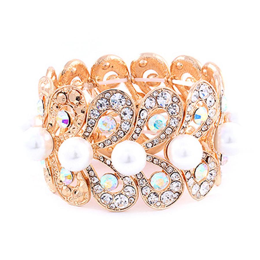 Bridal Wedding Jewelry Stunning Beautiful Crystal Pearl Stretch Bracelet Gold