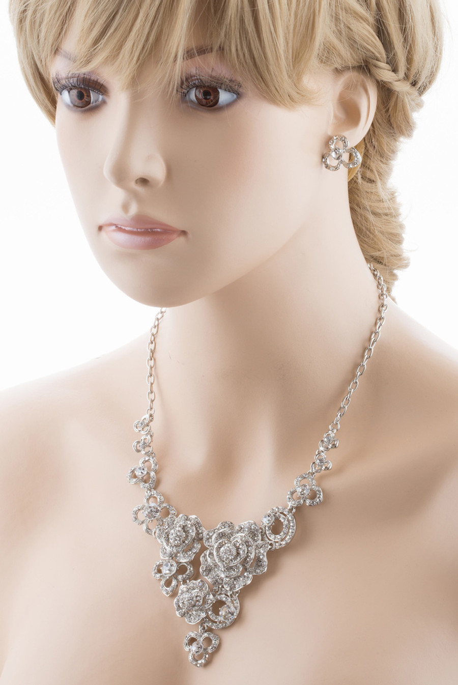 Bridal Wedding Jewelry Set Crystal Rhinestone Romantic Floral Design Necklace