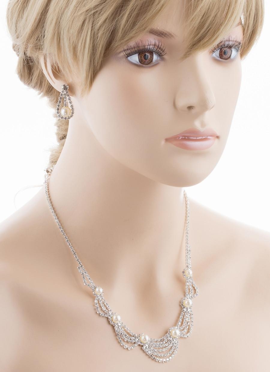 Bridal Wedding Jewelry Set Crystal Rhinestone Pearl Elegant Classy Necklace