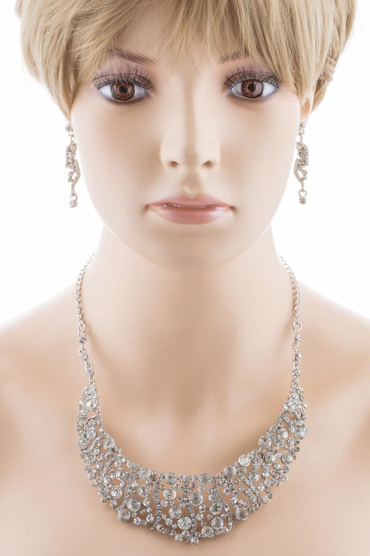 Bridal Wedding Jewelry Set Necklace Crystal Rhinestone Bib Chunky Silver Clear