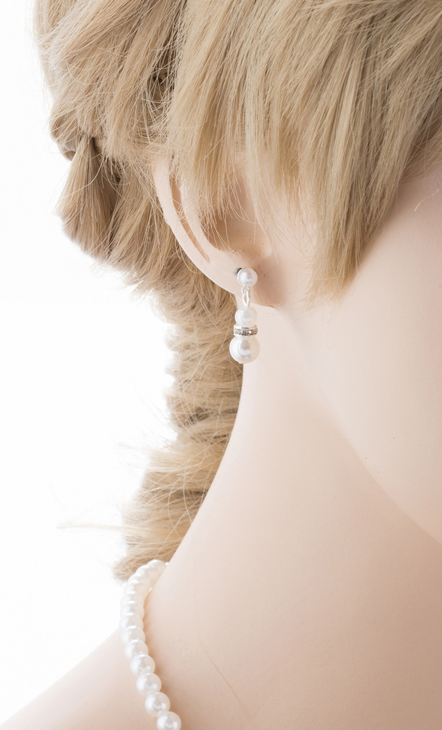 Bridal Wedding Jewelry Set Beautiful Single Strand Pearls Chic Necklace Silver