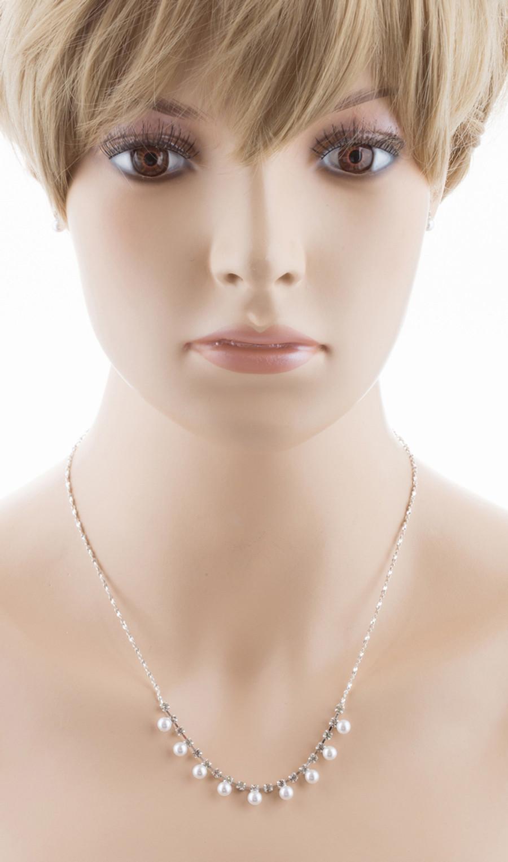Bridal Wedding Jewelry Set Crystal Rhinestone Elegant Pearl Necklace Silver