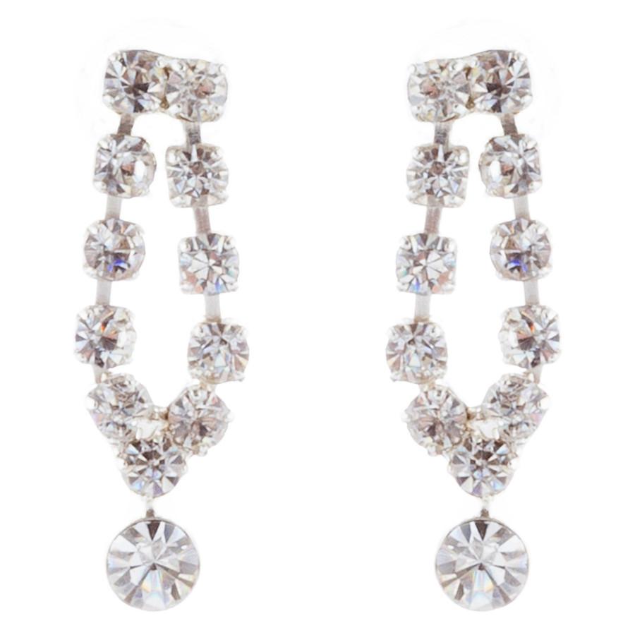 Bridal Wedding Jewelry Set Crystal Rhinestone Vintage Chic Necklace Silver