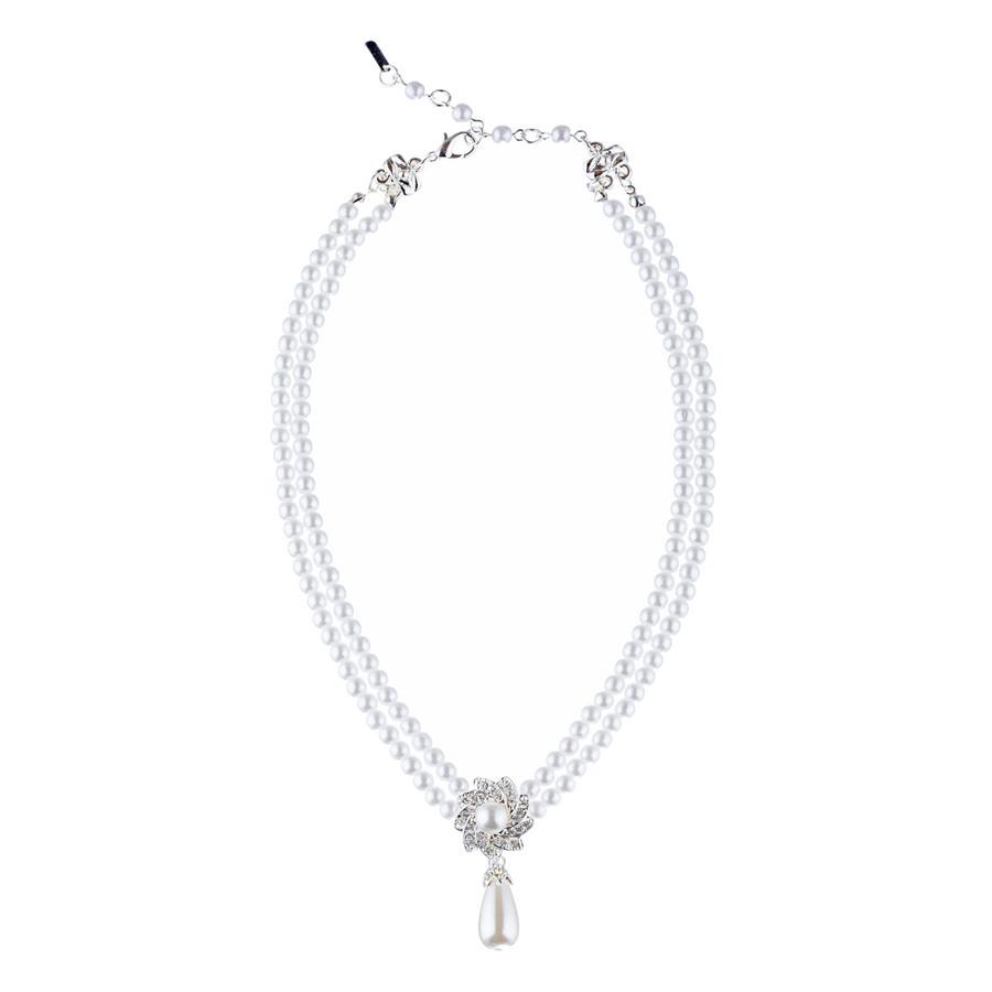 Bridal Wedding Jewelry Set Crystal Elegant Drop Pearl Necklace Silver
