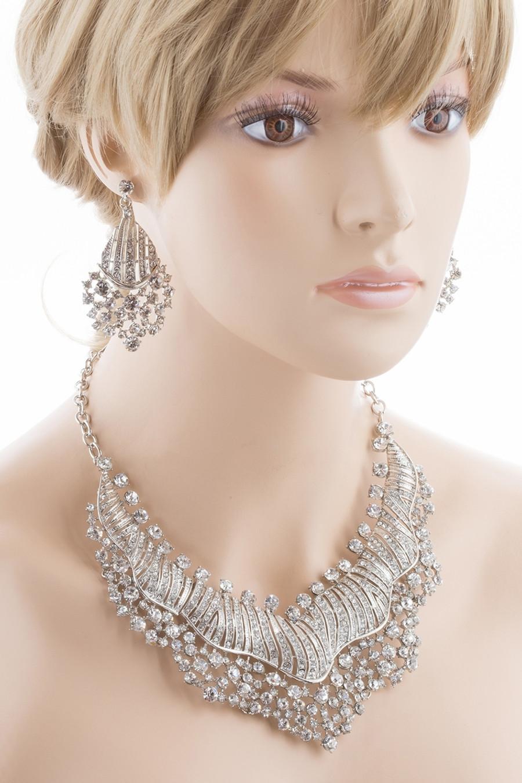 Bridal Wedding Jewelry Set Crystal Rhinestones Sparkle Wavy Bib Necklace Silver