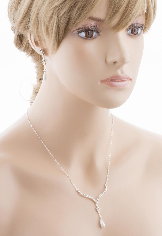 Bridal Wedding Jewelry Crystal Rhinestone Pearl Simple Elegant Y Necklace Silver