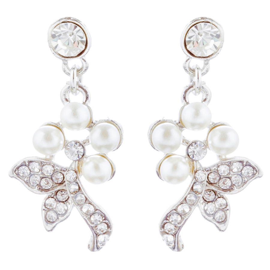 Bridal Wedding Jewelry Set Necklace Crystal Rhinestone Pearl Floral Bib Silver
