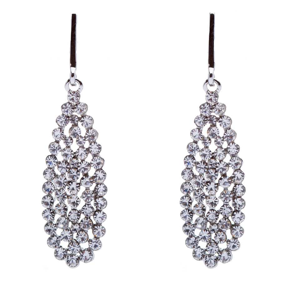 Bridal Wedding Jewelry Crystal Rhinestone Dazzle Teardrop Dangle Earrings Silver