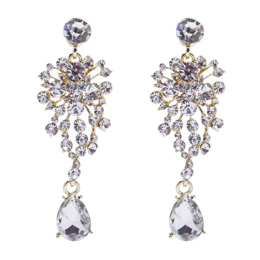 Bridal Wedding Jewelry Crystal Rhinestone Beautiful  Glimmering Dangle Earrings
