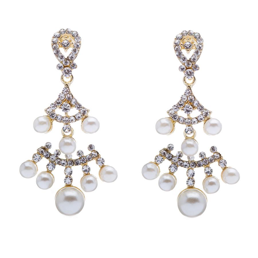Bridal Wedding Jewelry Crystal Rhinestone Pearl Dazzle Vintage Earrings Gold