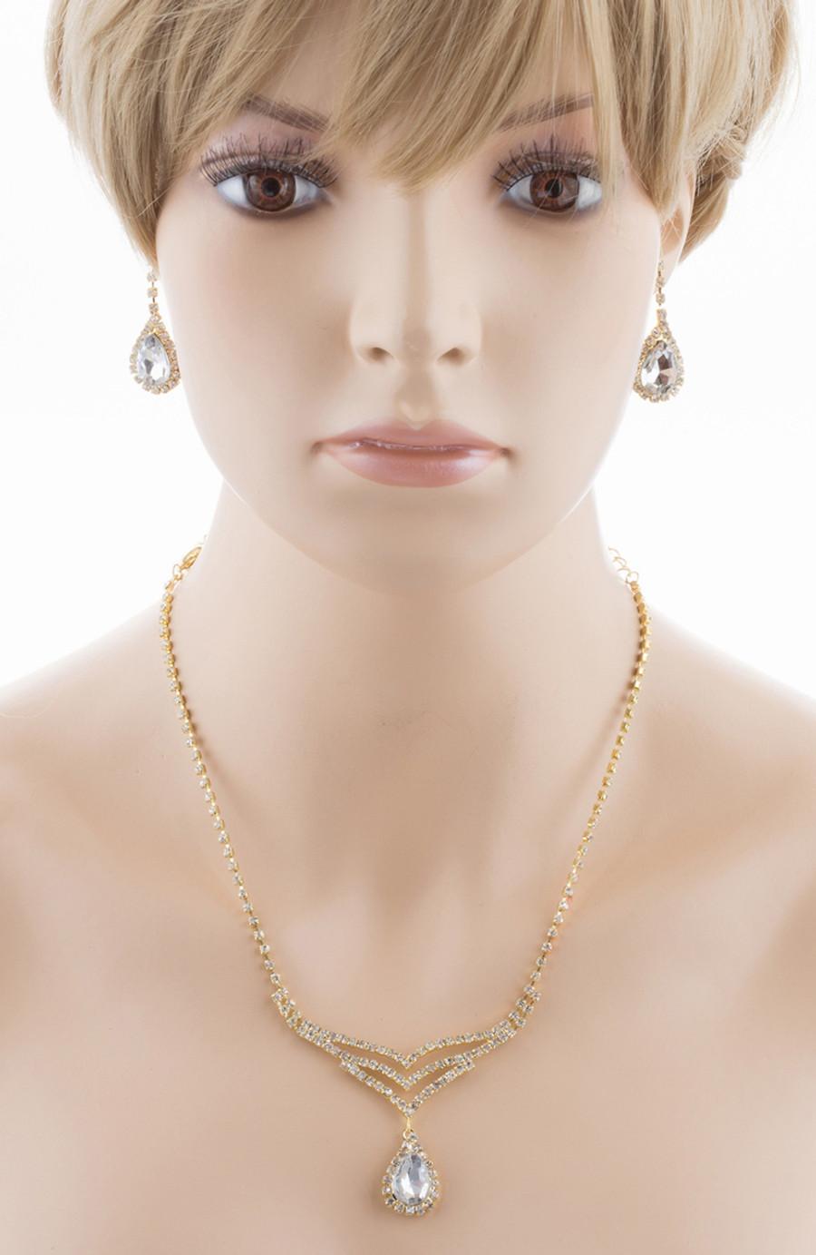 Bridal Wedding Jewelry Set Crystal Rhinestone Elegant TD V-Drop Necklace Gold