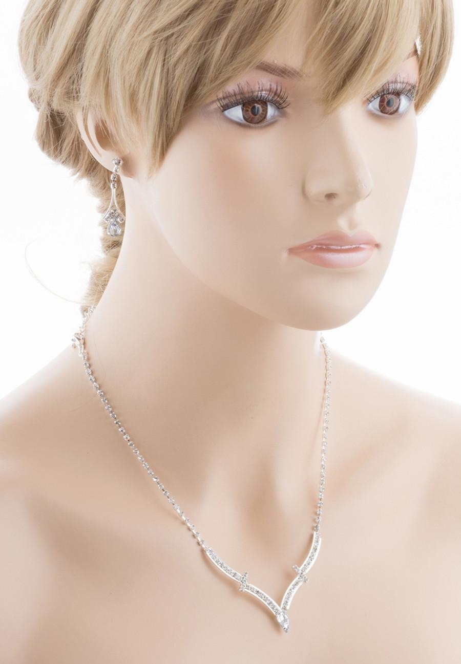 Bridal Wedding Jewelry Set Crystal Rhinestone Simple Curved V Drop Necklace CL