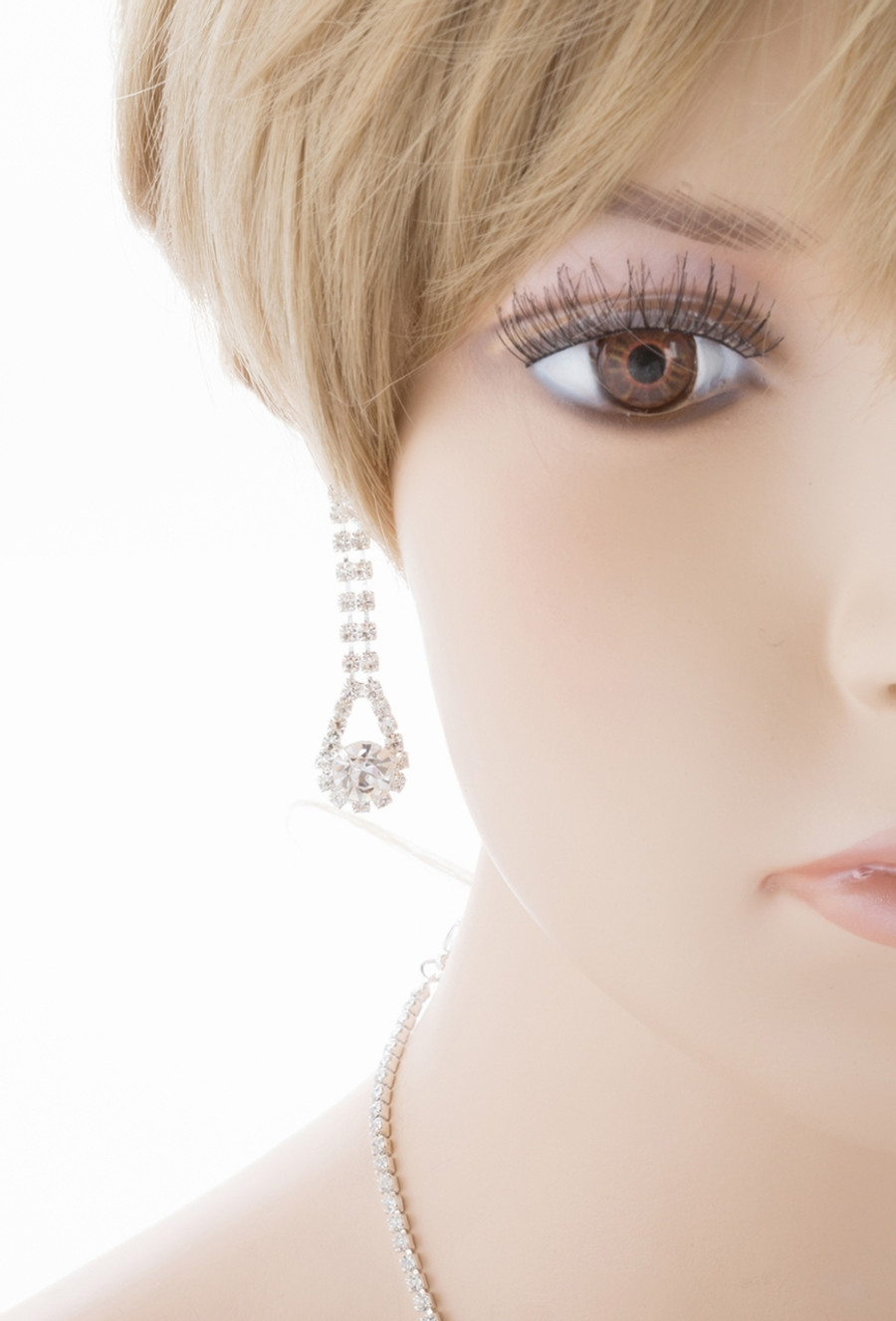 Bridal Wedding Jewelry Set Crystal Rhinestone Classic Dazzle Bib Necklace SV